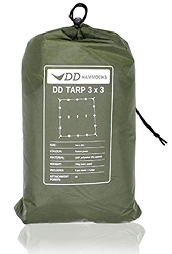 DD Hammocks DD Tarp 3x3 正方形 耐水性 3000mm ハンモックのフライに最適なタープ (フォレストグリーン)