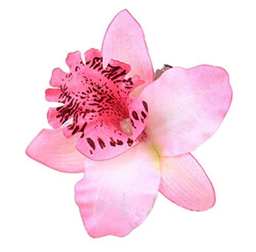 Fliyeong Braut Orchidee Blume Haarspange Hawaii Haarnadel Blume Brosche Haarspangen Frauen Mädchen Haarschmuck für Hochzeit Prom Party Beach Travel - Pink Langlebig und...