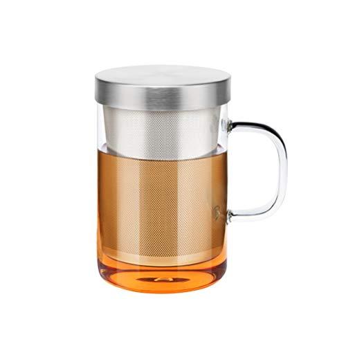 Pandao Tazza da tè, 450 ml Tazza da tè in Vetro infusore Tazza da tè in Vetro borosilicato con Filtro e Coperchio per Ufficio e Uso Domestico