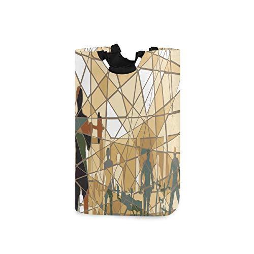 ZOMOY Multifunktionale Faltbarer Schmutzige Kleidung Wäschekorb,Fitness Mosaic Menschen im Fitnessstudio drucken,Household Wäschebox Spielzeug Organizer Aufbewahrungsbeutel mit Henkel