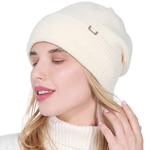 gulang-keng Gorro de invierno para mujer, de doble capa, tejido holgado, simple elástico, calentador de oídos, gran regalo