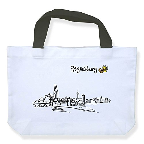 Einkaufstasche Skyline Regensburg - als Geschenk für Regenburger & Fans Regensburgs oder als Souvenir - die stadtmeister