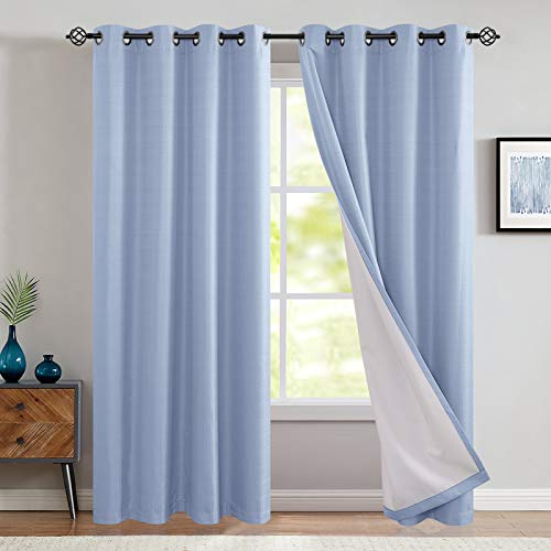 Bedroom Thermal Blackout Curtains Blue Energy Saving Lined Drapes for Living Room Bedroom 84 Inch Length Grommet Top Window Curtain Sold Individually