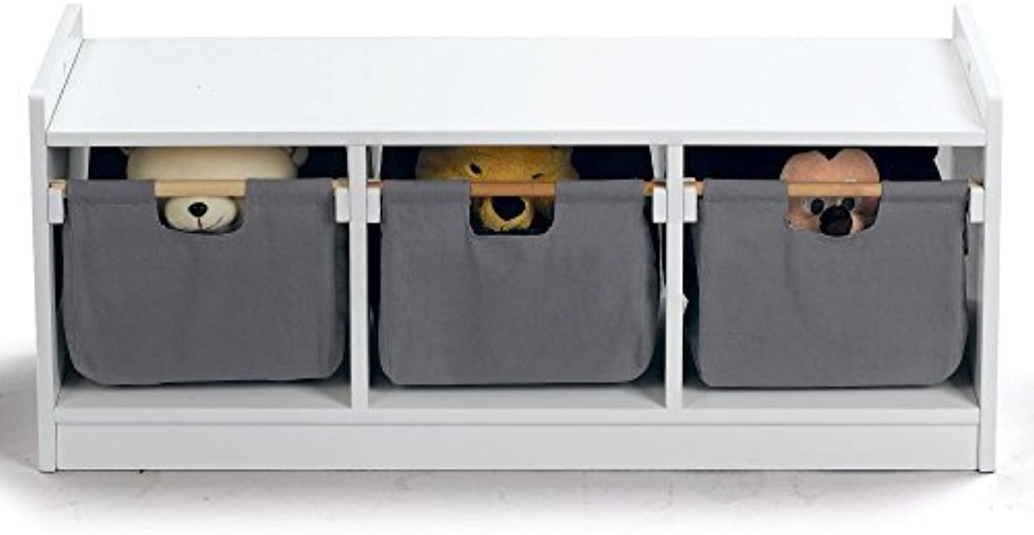 WonkaWoo Kids Deluxe Storage Bench, White, One Size