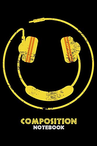 Composition Notebook: Smiley Face Headphones DJ Rave Music Lined Notebook Journal Diary 6x9