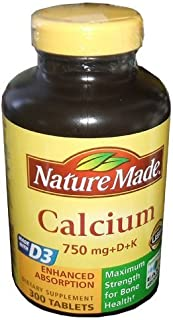 Nature Made Calcium 750 mg + D + K 300 Tablets