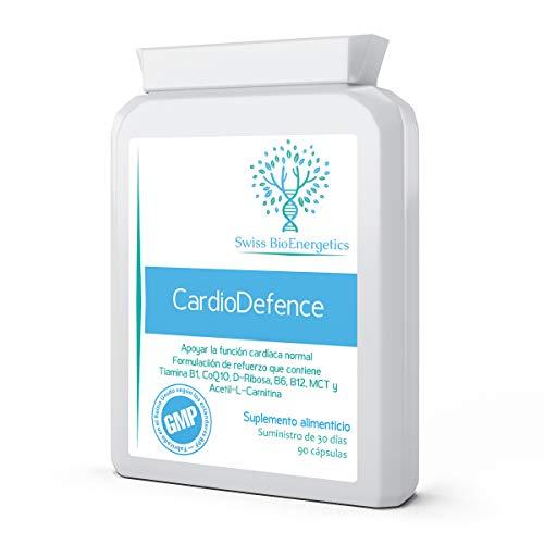 CardioDefence 90 cápsulas: un equilibrio preciso de CoQ10, D-Ribosa, Acetil L-Carnitina, Vitaminas B y Triglicéridos de cadena media para una función cardíaca normal y para reducir la fatiga