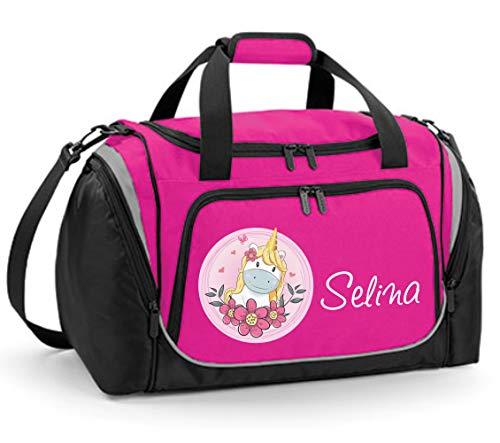 Mein Zwergenland Sporttasche Kinder personalisierbar mit Schuhfach, Kindersporttasche 39L mit Name und Einhorn mit Blumen Bedruckt in Pink