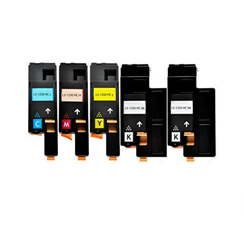 5er Set Toner für Dell 1250c 1350 1350 1355 2xBK 1xC,M,Y - Schwarz 2.000 S,Color je 1.400 S,kompatibel zu 593-11016 593-11021 593-11018 593-11019.