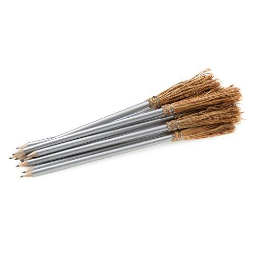Mendi 6 Bleistift Besen 26 cm Silber farbe
