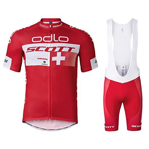 Maglia Ciclismo Uomo Manica Corta Abbigliamento Sportivo da Ciclismo con Pantaloni Ciclismo Salopette Asciugatura Rapida Maglia Zip Estiva MTB per MTB Ciclista