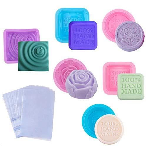 PandaHall 8 moldes de Silicona para jabón de 8 Formas, Cuadrados, Redondos, de limón, Rosas, Hechos a Mano, con 100 Bolsas termorretráctiles para Hacer jabón, Velas, Resina UV