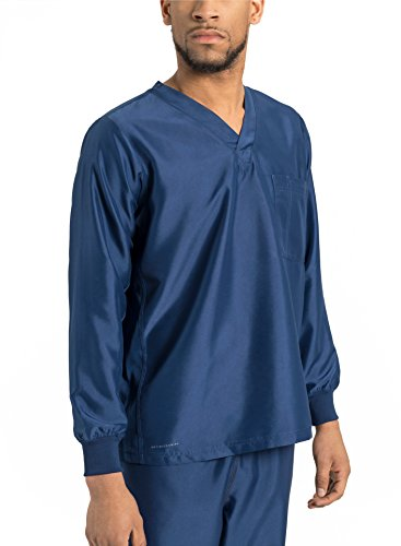 TiScrubs Men's Long Sleeve Single Pocket Scrub Top (Large, Navy)