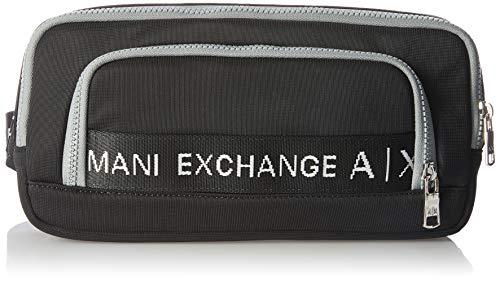A|X Armani Exchange Men's Logo Tape Nylon Canette Sling Bag, nero/grigio - black/Grey, OS