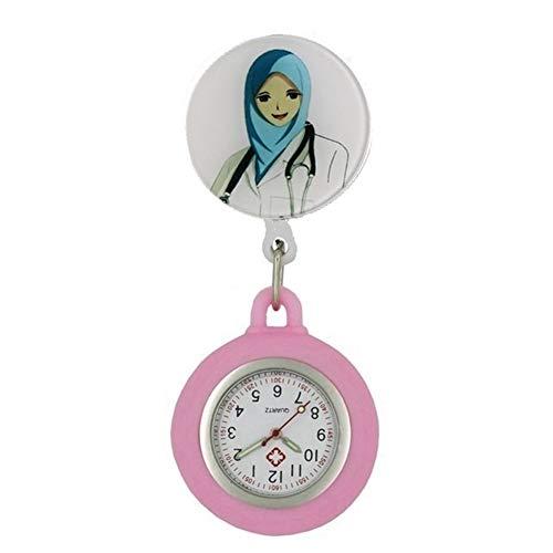 HeNan LiQinKeJi8 Brosche Uhr Cartoon Scalable Badge Reel Herz Krankenschwester-Taschen-Uhr-Quarz-Dame-Frauen-Männer Geschenk Uhren Für die Arbeit drinnen (Color : 6)
