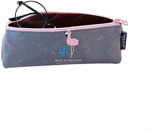 ASDZ lightweight Lovely Flamingos Canvas Pencil case Pen Bag School Stationery Organiser Portable Pouch Travel Makeup Bag Pouch Bag Case (Color : Grey)