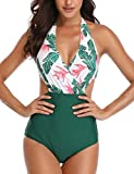 heekpek Mujeres Retro Cintura Alta Trajes de Baño Una Pieza Polka Dot Bañador Trajes de Brasileño Conjunto de Bikini Color Liso Push up Bralette