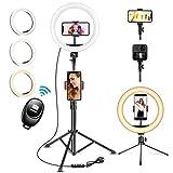 UPhitnis 10' Luz de Anillo LED Fotográfica, 3 Colores 10 Brillos Regulables Control Remoto, 63' Trípode con Soporte Giratorio de teléfono para Selfie, Youtube, TIK TOK