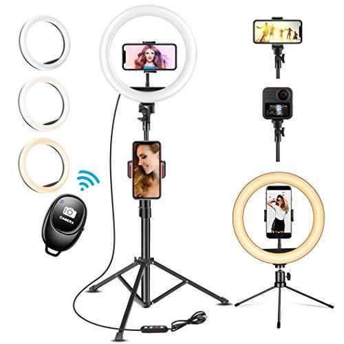 """UPhitnis 10"""" Luz de Anillo LED Fotográfica, 3 Colores 10 Brillos Regulables Control Remoto, 63"""" Trípode con Soporte Giratorio de teléfono para Selfie, Youtube, TIK TOK"""
