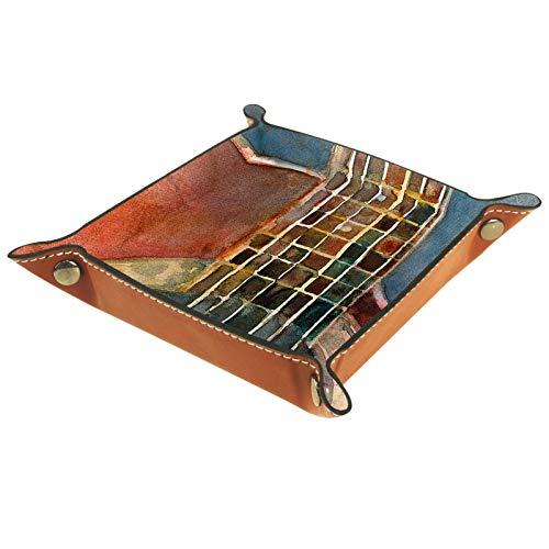 Caja de almacenamiento pequeña, bandeja de valet para hombre,Guitarra roja acústica,Organizador de cuero para llaves de caja de monedas