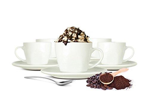 Sendez 12tlg Cappuccinotassen mit Unterteller aus Porzellan Kaffeetassen Teetassen Set