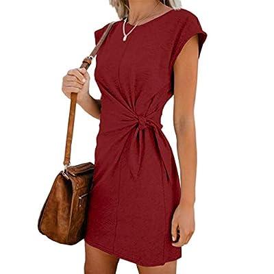 W-Fight Women Short Sleeve Summer Loose Casual Mini Dress Tie Waist O-Neck Twist Knot Plain Party Sundress
