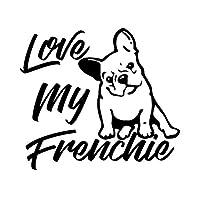 車 ステッカーデカール- Love My Frenchie FrenchBulldogカーステッカー日焼け止めデカールラップトップトラックオートバイカーアクセサリーPVC14cmx12cm-ブラック