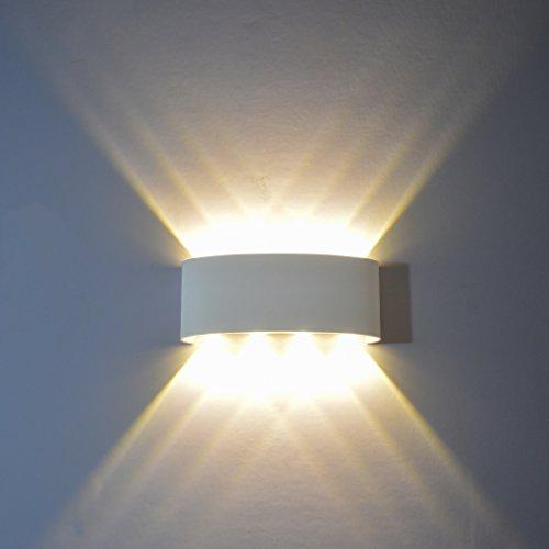 PHOEWON Wandleuchte LED Innen, 8W Modern LED Licht Wandlampe Aluminium Leuchten Wandlicht Oben Unten Lampen Spotlicht, Wandleuchte für Schlafzimmer, Wohnzimmer, Korridor -Warmweißes Licht