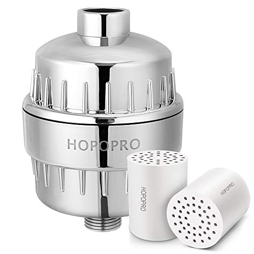 [Upgraded] 18 Stage Shower Filter & Replacement, Hopopro High Output Universal Revitalizing Shower Head Filter Set Water Softener Remove Chlorine Fluoride Heavy Metals Sediments Impurities
