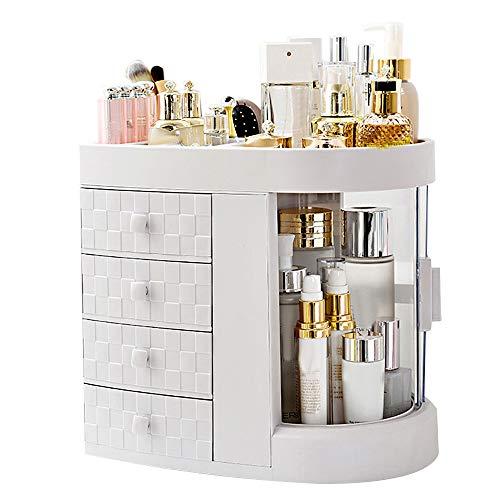 Galapara Organizador de Maquillaje Caja Cosméticos, 4 niveles de acrílico Rack de almacenamiento multifuncional Marfil Blanco Maquillaje Organizador Rotación Estante a prueba de polvo