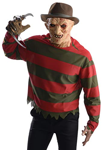 Rubie's Men's Nightmare on Elm Freddy Krueger Shirt With Mask Adult Sized Costumes, As Shown, Standard US
