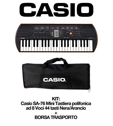 Casio SA-76 Mini Tastiera polifonica ad 8 Voci e 44 tasti, Nero/Arancio + Bag Trasporto Originale Casio