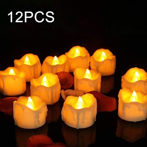 LED Kerzen mit Timer, Parti Flackernd Teelichter, Elektrische Kerze Lichter Batterie Flammenlose Tealights Dekoration für Weihnachten, Valentinstag, Ostern, Hochzeit, Party [12 Stück, Warm-weiß]