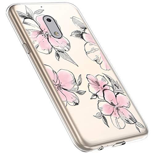 MoreChioce kompatibel mit Nokia 6 Hülle,Nokia 6 Handyhülle Blume,Ultra Dünn Transparent Silikon Schutzhülle Clear Crystal Rückschale Tasche Defender Bumper,Blumenzweig #28
