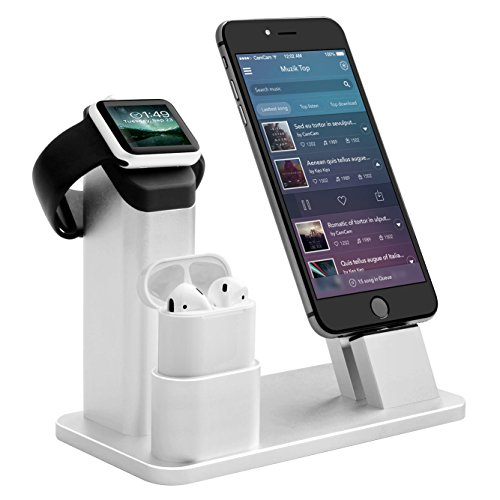 Bicolor Estación de Soporte en Aluminio 4 en 1, Soporte de Carga Dock Station para Apple Watch, Estación de Soporte para Apple Watch 3/2/1/x Airpods/iPhone/8/8PLUS/7 Plus/6s/6s Plus/iPad