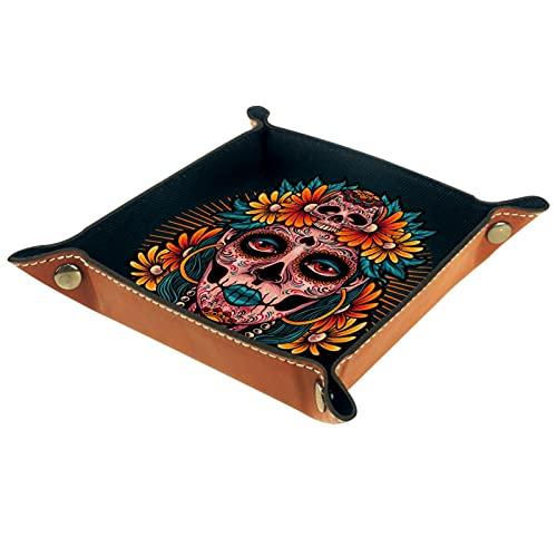 rogueDIV Bandeja plegable de cuero para dados con broches para DnD, juegos de mesa, almacenamiento de calavera cabeza mujer