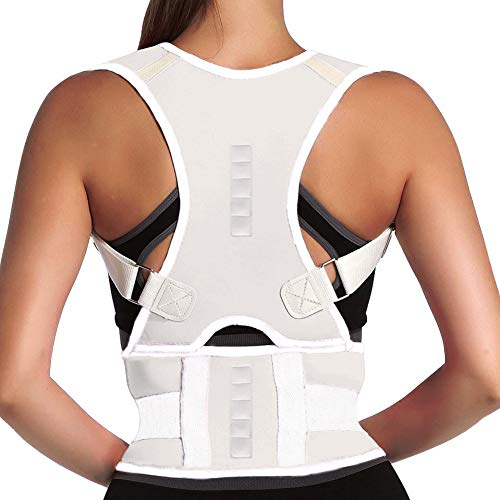 Magnet Back Brace Posture Corrector- Fully Adjustable Support Belt Improves Posture and Provides Lumbar Back Brace, Relieves Pain Upper and Lower Back for Men and Women (White, XX-Large)
