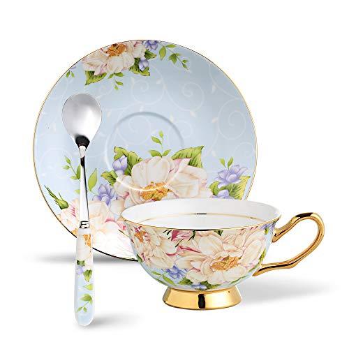 Panbado Juego de Tazas de Café de China de Hueso, 200ml, Taza de Café de Porcelana Blanca y Translúcida Vajilla de Té para Hogar, Oficina, Restaurante, Regalo para Cumpleaños, Festival - Flores Azules