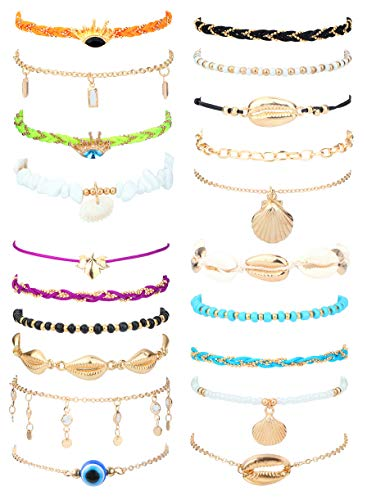 Finrezio 21Pcs Layered Anklets for Women Woven Rope Shell Ankle Bracelets Set Bohemia Beach Chain Anklet Foot Jewelry Adjustable Size