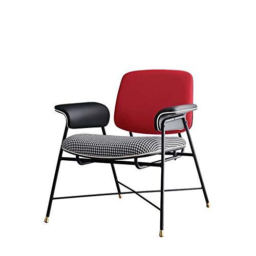 Designer Sessel Lesesessel Einzelsofa Metallrahmen LederflüGel RüCkenlehne Stoff Sitz FüR Wohnzimmer Esszimmer Ankleidezimmer Schlafzimmer Empfang BüRo Cafe-Rot
