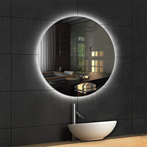 HL - Espejo de baño con luz LED, interruptor inteligente de desvaho de 70 cm, apto para baño de maquillaje-WhiteA-60 cm