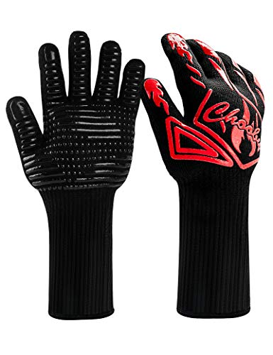 CHOOBY BBQ Gloves, 1472℉ Extreme Heat Resistant Gloves, Forearm Protection Long Grill Gloves,...