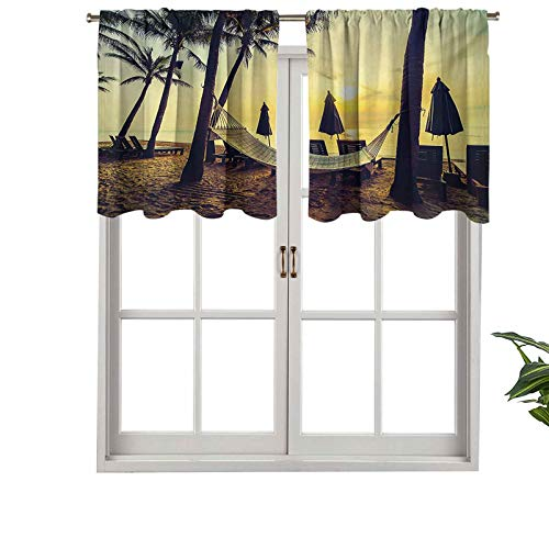 Hiiiman Rod Pocket Curtain Valances Photo of Empty Hammock on Beach at Sunrise Time, Set of 1, 36'x18' Thermal Insulated for Living Room