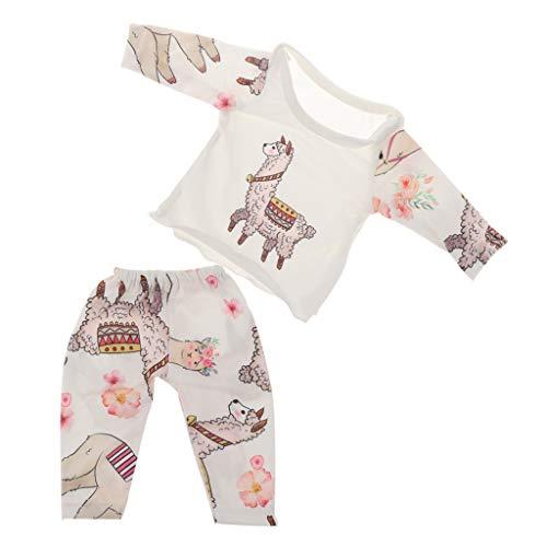 P Prettyia Netter Zweiteiliger Langarm Schlafanzug Pyjama Nachthemd Set für 18 Zoll Amerikanisches Mädchen Puppen - F