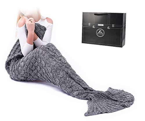 VHOME Meerjungfrau Decke Geschenke Beste Freundin - Personalisierte Handgemacht Gestrickt Warmes Wohnzimmer Sofa Decke Damen Mädchen Für Weihnachts Geburtstagsgeschenk (Erwachsene 180x90CM, S-Grau)