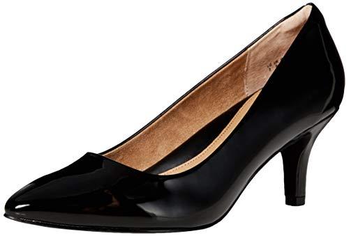 Amazon Essentials Women's Round Toe Medium Heel Pump, Black Patent, 8