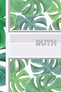 Ruth: Personalized green leaves - healthy vibe sketchbook with name: 90 blank pages