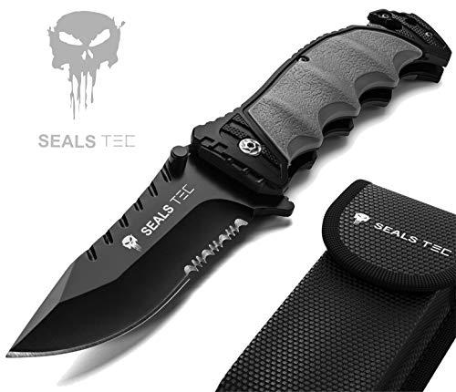 sealstec® Original Combat K120 - Klappmesser mit Säge-Zahn-Schliff   Zweihandmesser 8,5cm Klinge   Camping - Jagd - Outdoor - Survival - Messer   extra scharf