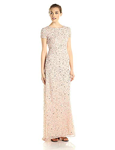 Adrianna Papell Women's Short Sleeve All Over Sequin Gown, Blush, 12