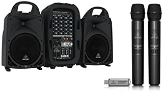 Behringer Europort PPA500BT Ultra-Compact 500-Watt6-Channel PA System with Bluetooth Technology, Wireless Mic Option - With Behringer Ultralink 2.4 GHz Digital Wireless System, Includes 2 Mics